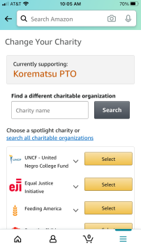 Type in Korematsu PTO to the search field and then click select to set it as your charity of choice
